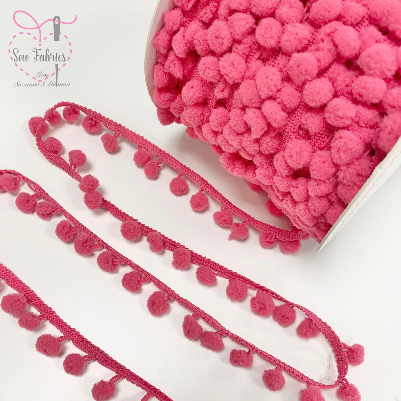 Bertie's Bows Fuchsia Pink 10mm Diameter Pom Pom Trim, Edging, Fringe, Braid, Craft