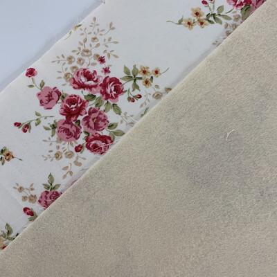 Cream Floral Fabric with Cream Acrylic Felt Backing