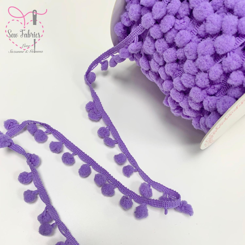 Bertie's Bows Lilac Purple 10mm Diameter Pom Pom Trim, Fringe, Edging, Braid, Craft