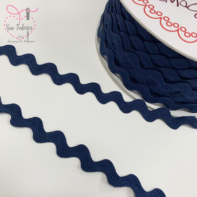 Bertie's Bows Navy Blue 13mm Large Ric Rac Trim, Edging, Fringe, Braid, Craft