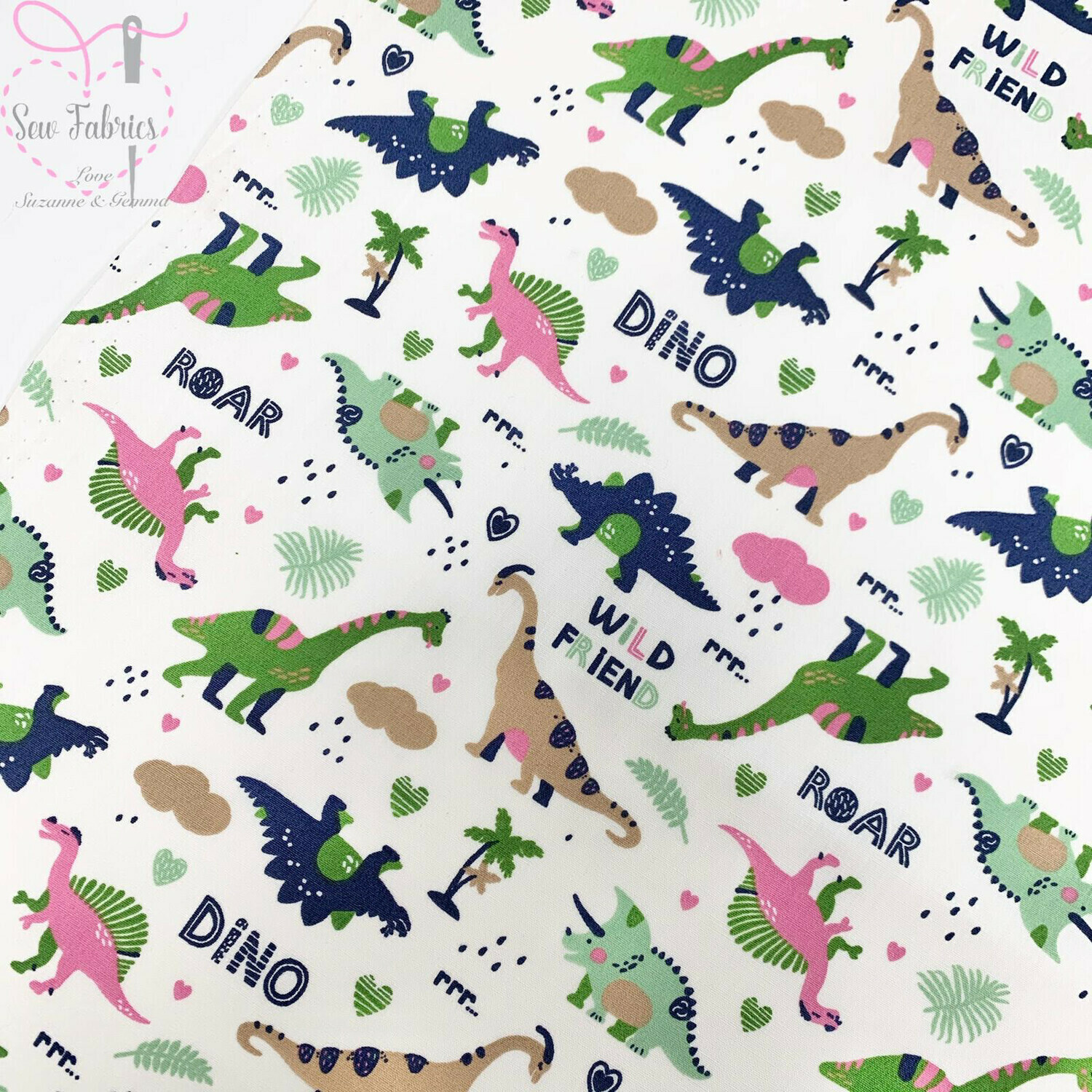 Rose & Hubble Ivory with Pink Dinosaur Print Childrens Fabric 100% Cotton Poplin Material