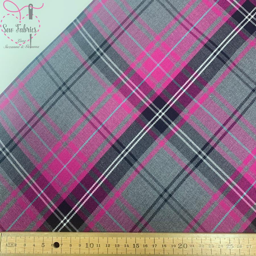 Cerise Pink Fashion Tartan Fabric, Polyester/Viscose Material