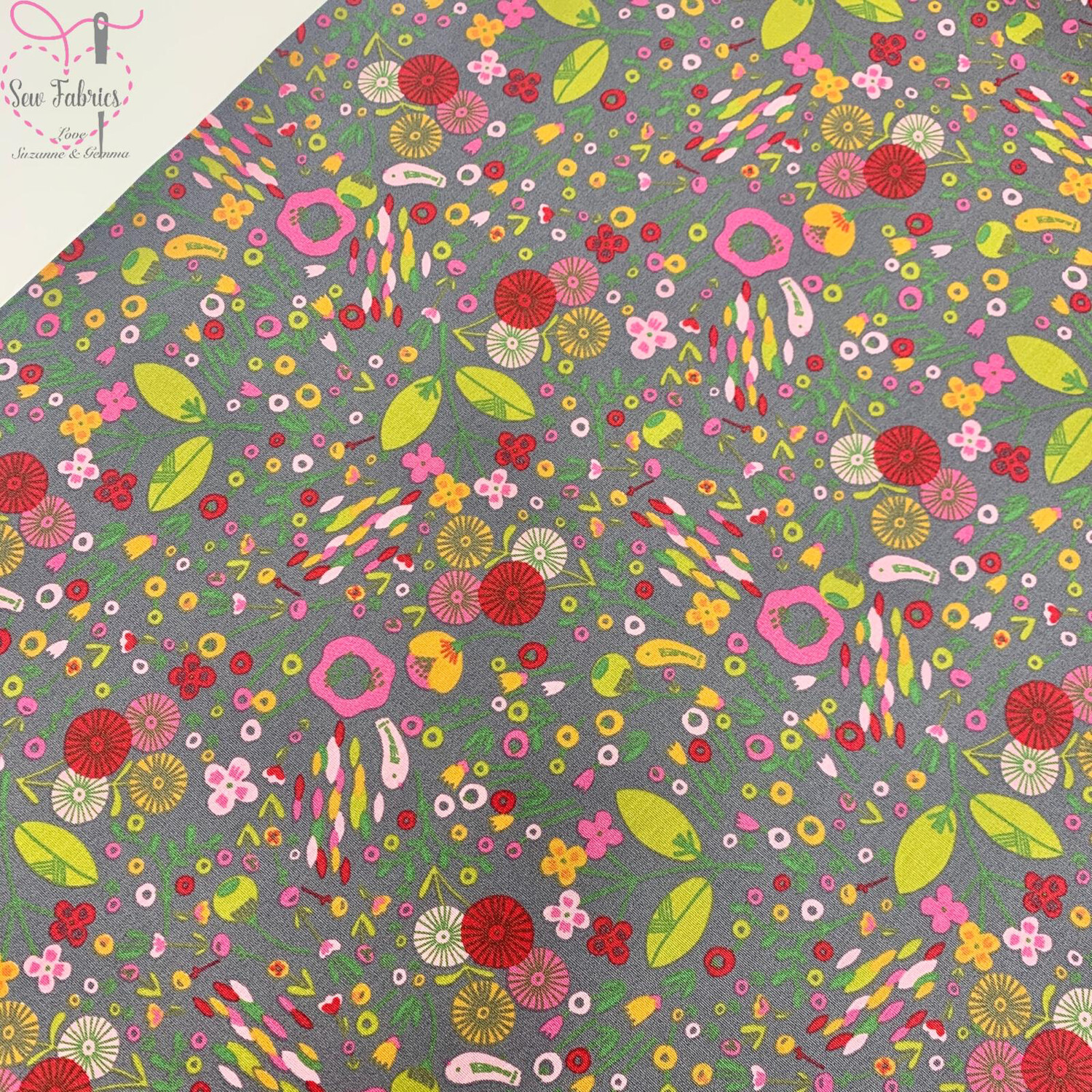 "John Louden Grey Festival of Flowers 100% Cotton Fabric 60"" Wide Width"
