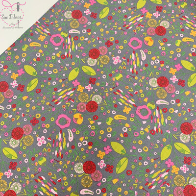John Louden Grey Festival of Flowers 100% Cotton Fabric 60