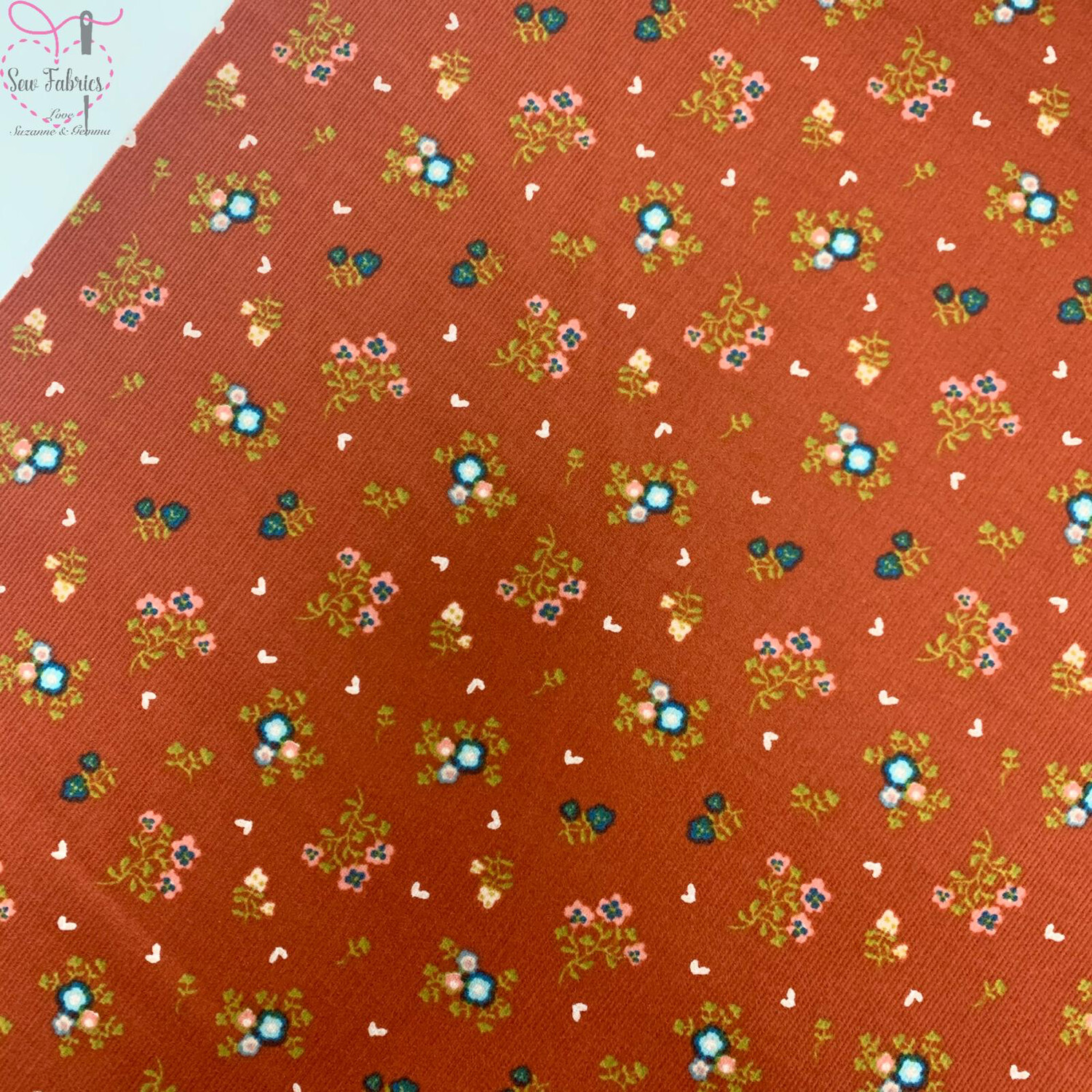 "John Louden Rust Red Floral Babycord, 100% Cotton Needlecord Fabric, 57"" Wide Width"