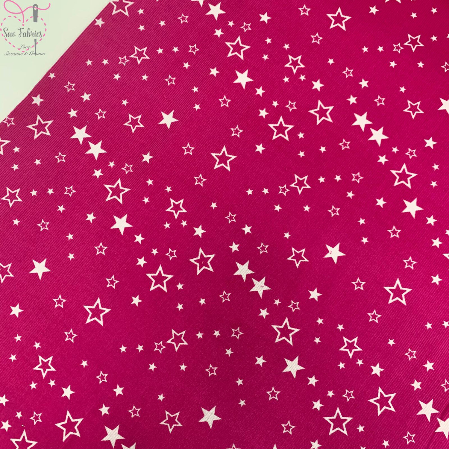 "Cerise Pink Stars Printed Needlecord, 100% Cotton Needlecord Fabric, 56"" Wide Width"