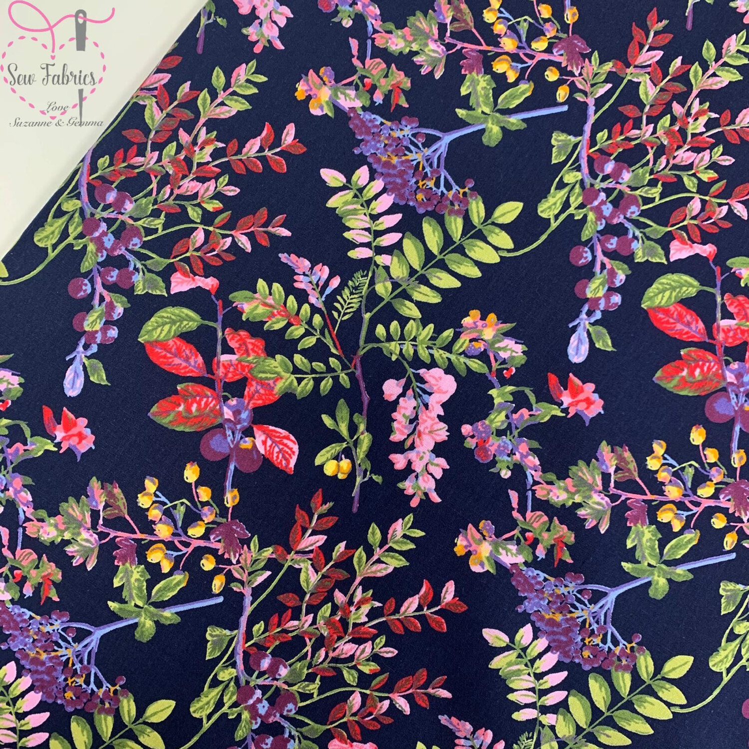Rose & Hubble Navy Country Garden 100% Cotton Poplin Floral Fabric