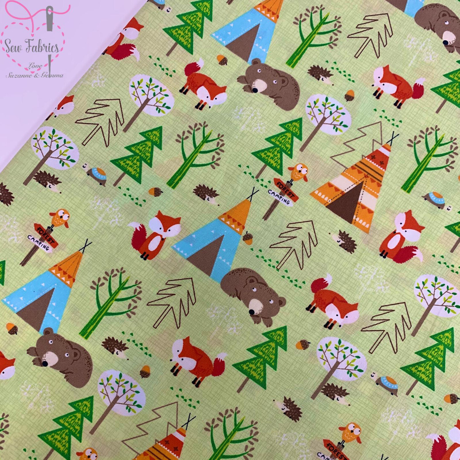 Rose & Hubble Summer Green Forest Camping Woodland Animal Print 100% Cotton Poplin Fabric