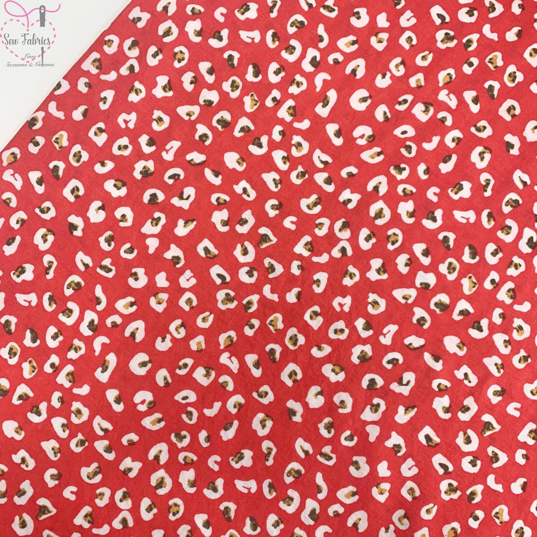 Salmon Pink Cheetah Print Viscose/Polyamide Fabric, Animal Leopard Print Material