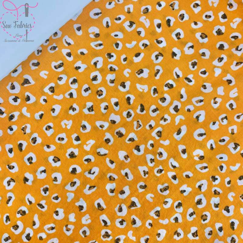 Yellow Cheetah Print Viscose/Polyamide Fabric, Animal Leopard Print Material
