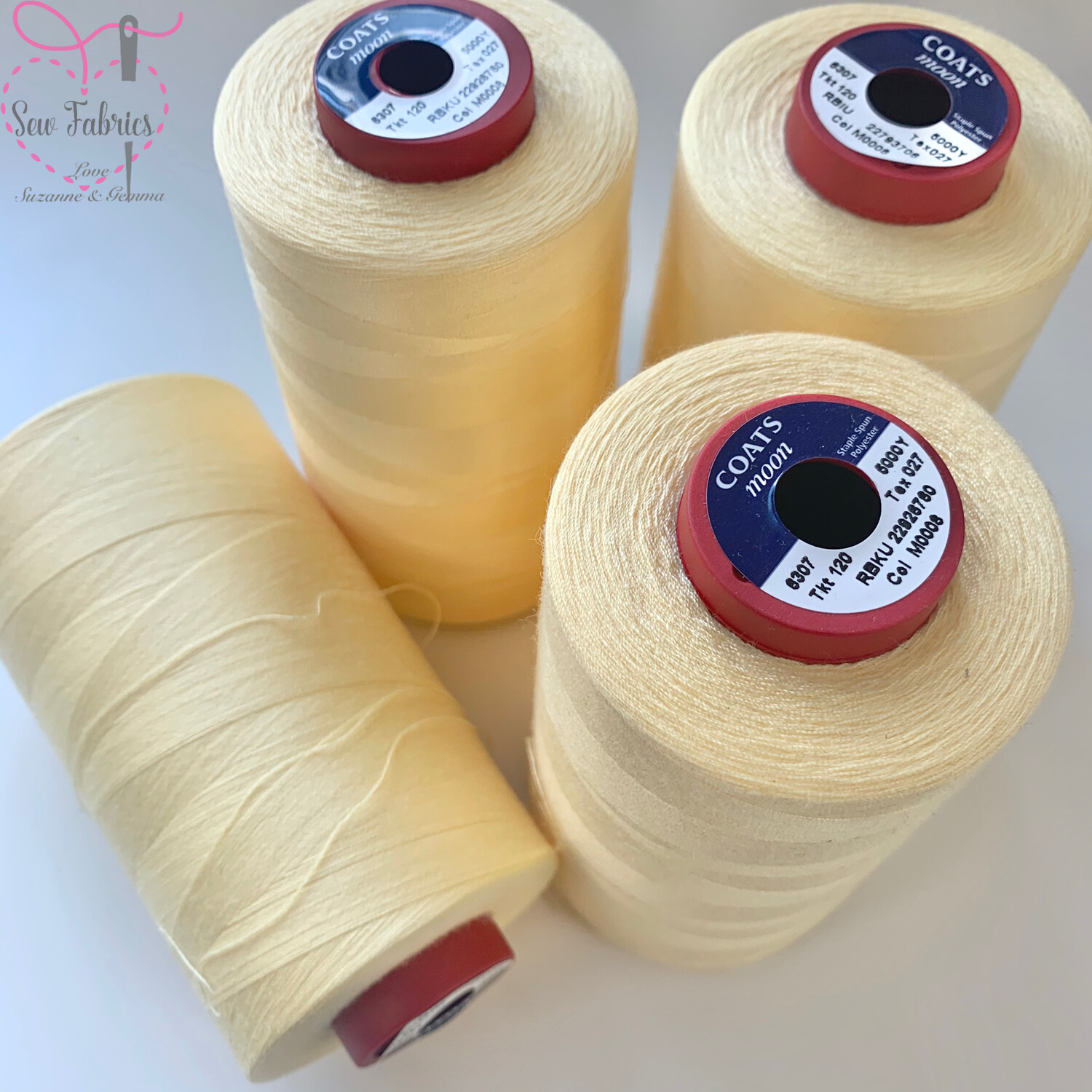 4 x 5000y Moon Polyester Thread Cone, Overlocker - Cream