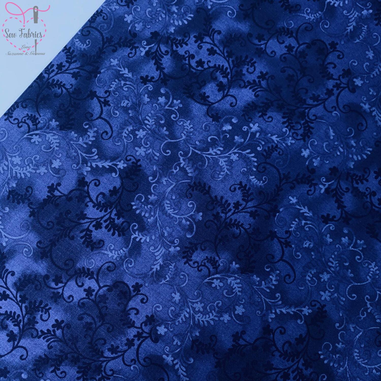 John Louden Indigo Blue Mystic Vine 100% Cotton Floral Fabric Dark Blue Material
