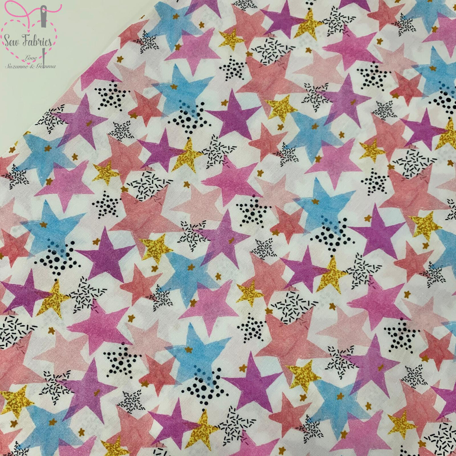 "Multi Stars Design, The Little Johnny Collection Summer Fabric 100% Cotton 58"" Wide Width"