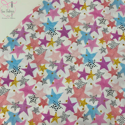 Multi Stars Design, The Little Johnny Collection Summer Fabric 100% Cotton 58
