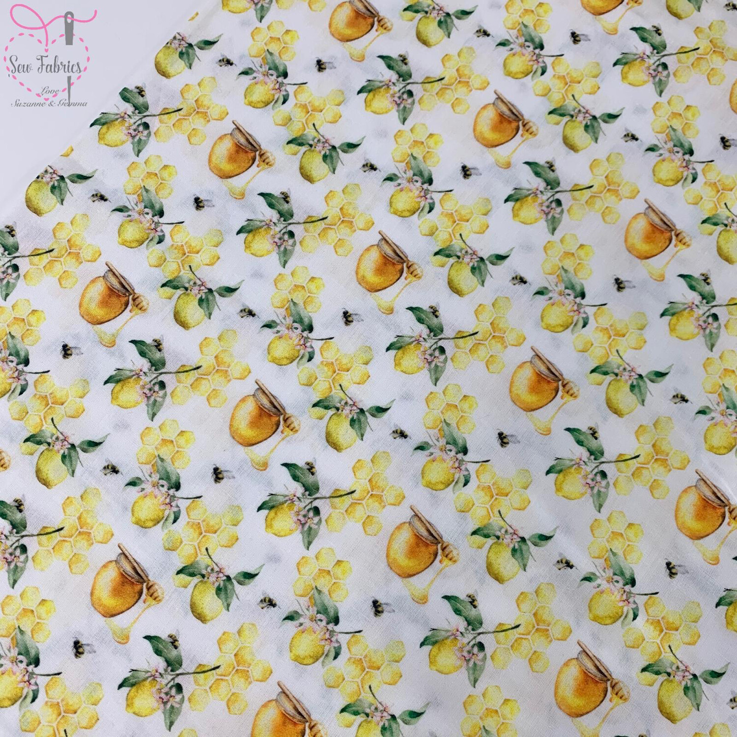 "Honeycomb Lemons Design, The Little Johnny Collection Summer Fabric 100% Cotton 58"" Wide Width"