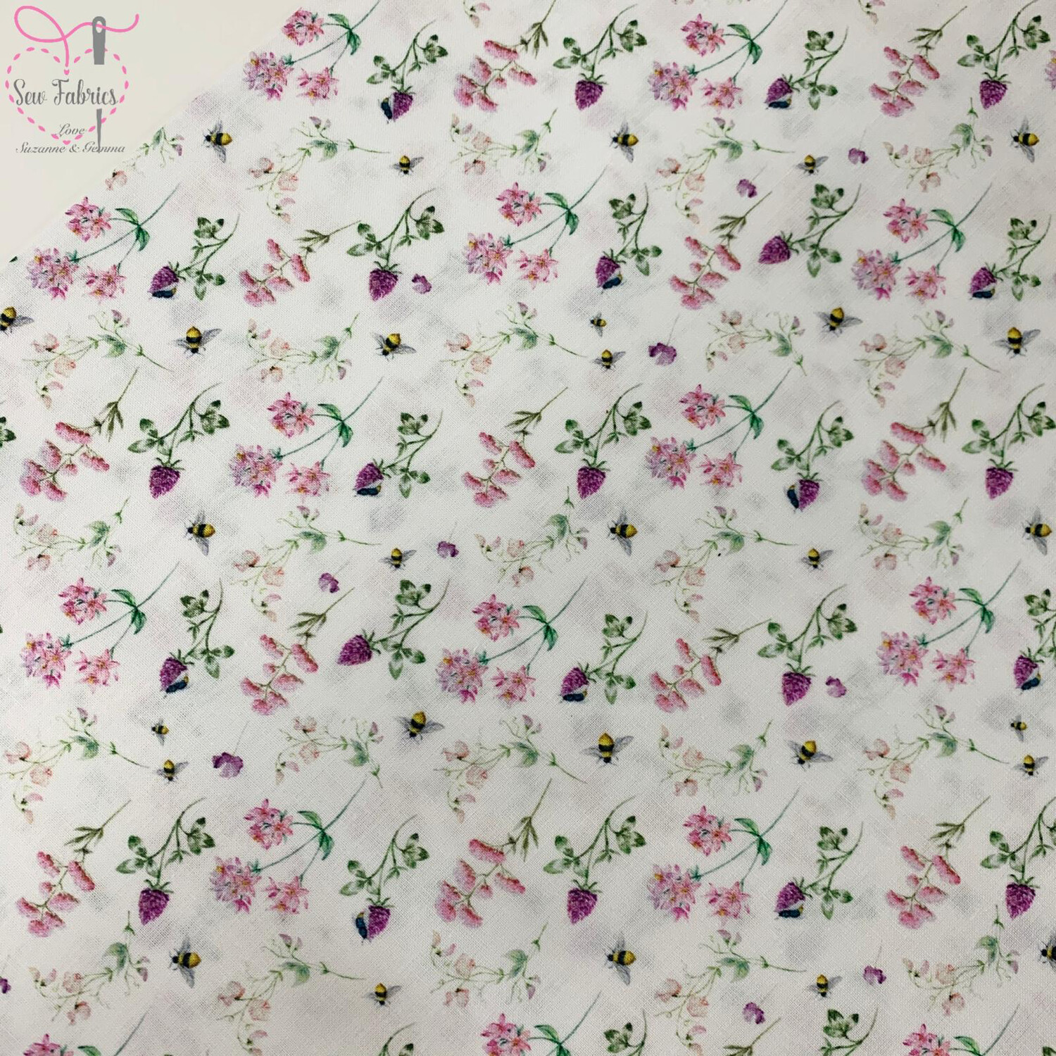 "Floral Bees Design, The Little Johnny Collection Summer Fabric 100% Cotton 58"" Wide Width"