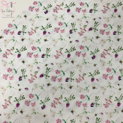 Floral Bees Design, The Little Johnny Collection Summer Fabric 100% Cotton 58