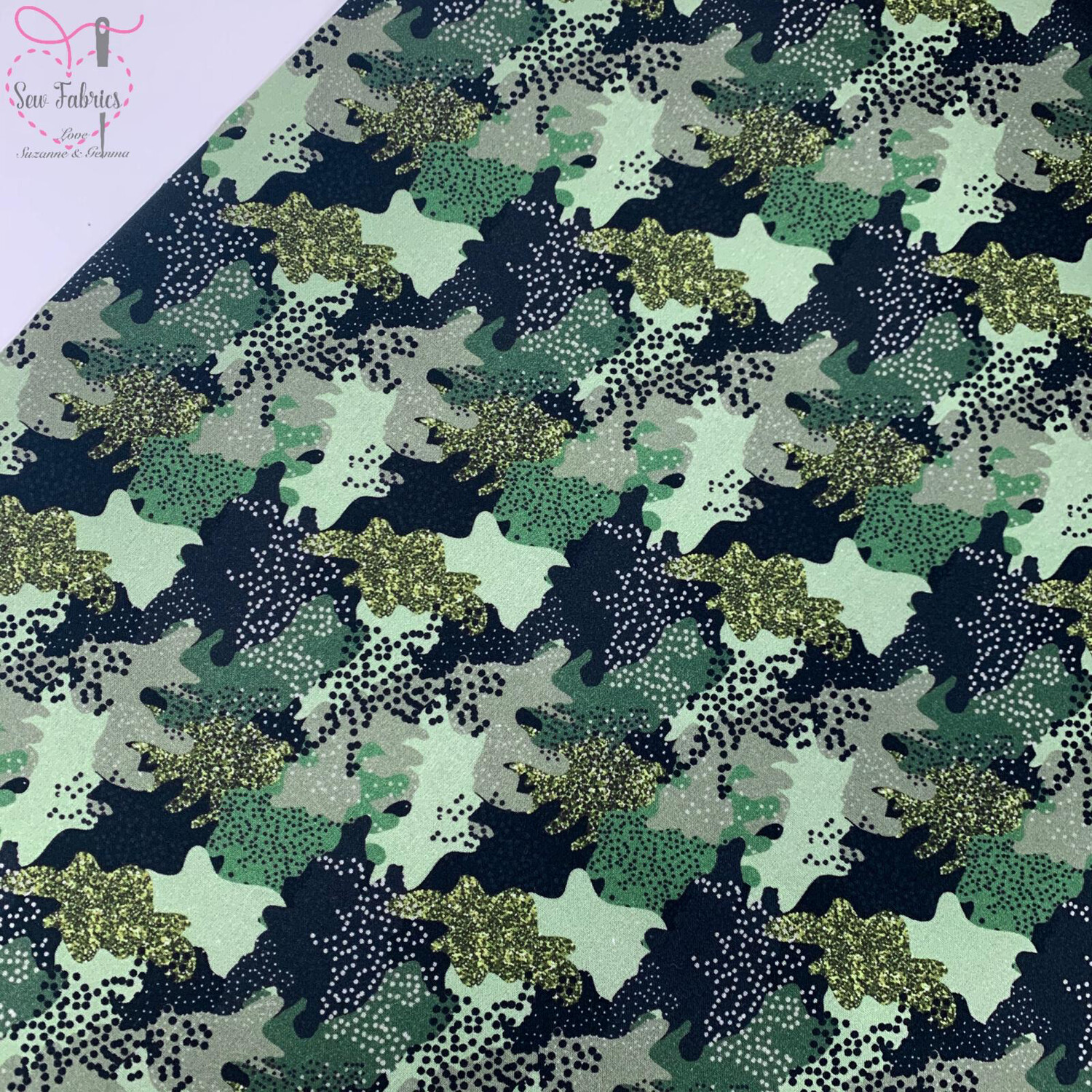 "Khaki Speckled Camouflage, The Little Johnny Collection Summer Fabric 100% Cotton 58"" Wide Width"
