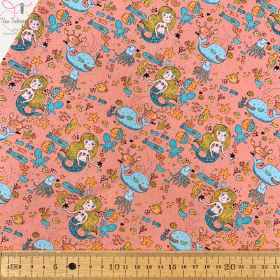 Peach Glow in the Dark Mermaid Sea Cotton Elastane Jersey Fabric, Dress, Children's