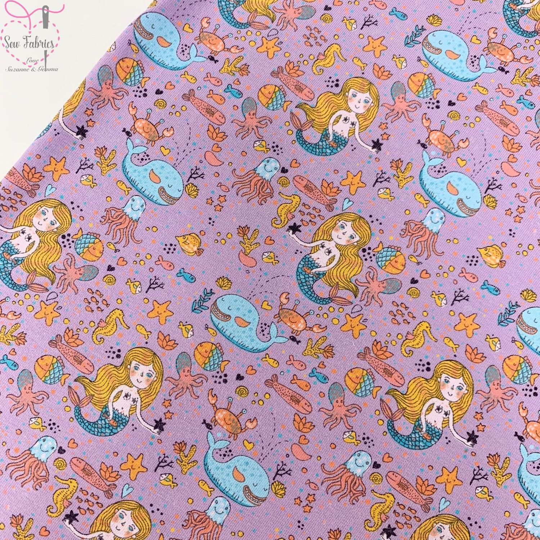 Lilac Glow in the Dark Mermaid Sea Cotton Elastane Jersey Fabric, Dress, Children's