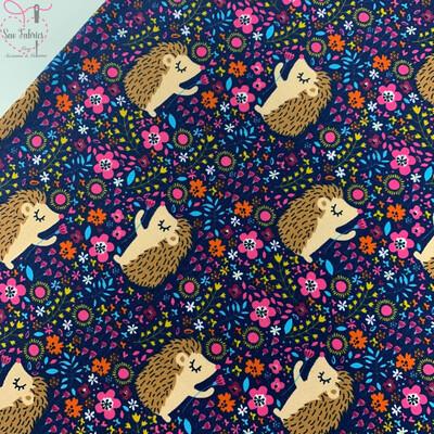 Navy Blue Hedgehog Cotton Elastane Jersey Fabric, Dress, Children's