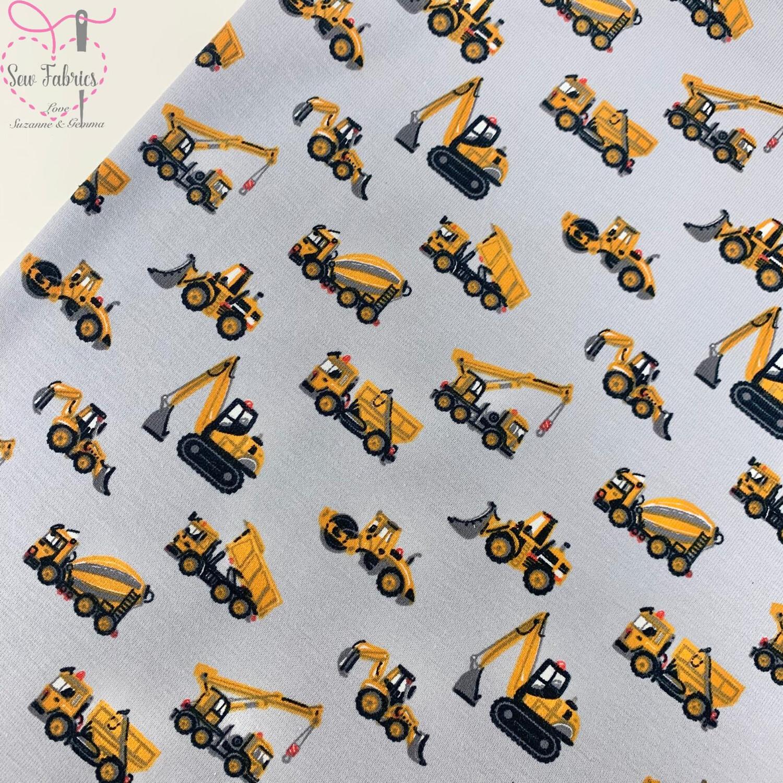 Light Grey Digger Cotton Elastane Jersey Fabric, Dress, Children's