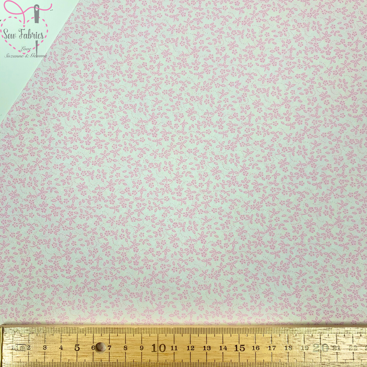 Candy Pink on Ivory Background 100% Craft Cotton Ditsy Daisy Floral Fabric, Suitable for Craft, Quilting & Sewing Projects.