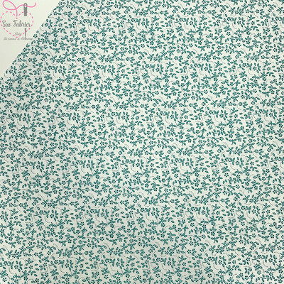 Teal Green on Ivory Background100% Cotton Ditsy Daisy Fabric