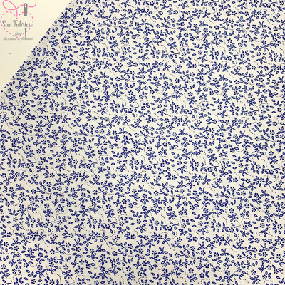 Navy on Ivory Background 100% Craft Cotton Ditsy Daisy Floral Fabric, Suitable for Craft, Quilting & Sewing Projects.