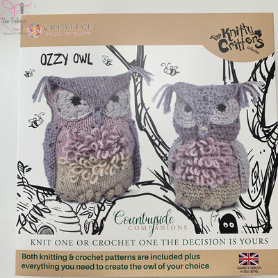Ozzy Owl, The Knitty Critters Countryside Companions Collection, Knit or Crochet Kit