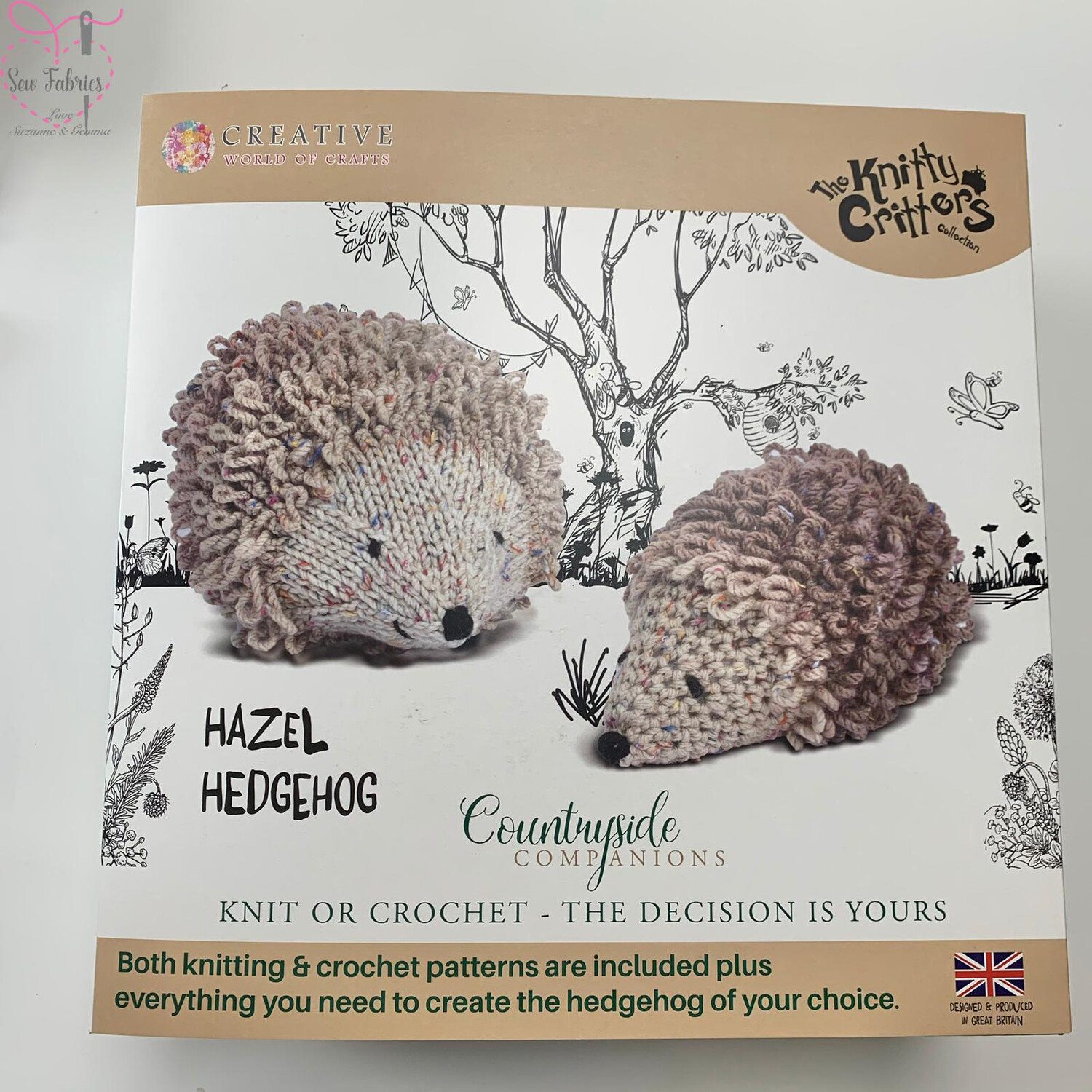 Hazel Hedgehog, The Knitty Critters Countryside Companions Collection, Knit or Crochet Kit