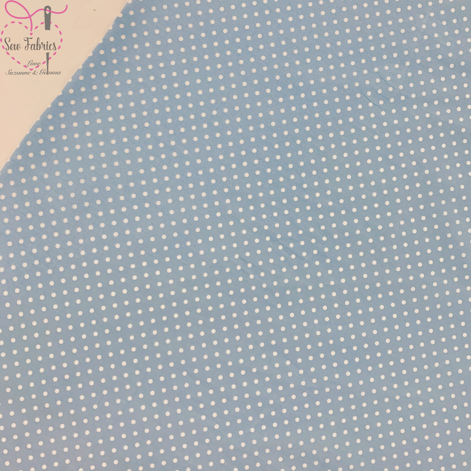 Rose and Hubble Pale Blue Polka Dot Fabric 100% Cotton Poplin Spot Geometric Material