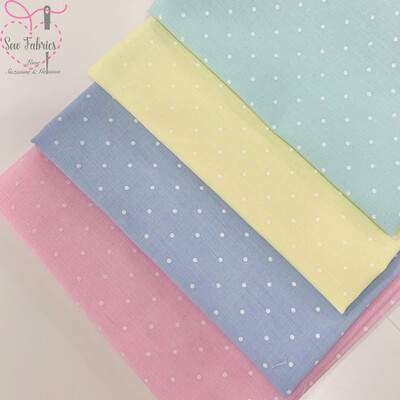 4 x Polka Dot Polycotton Fabric Fat Quarter Bundle