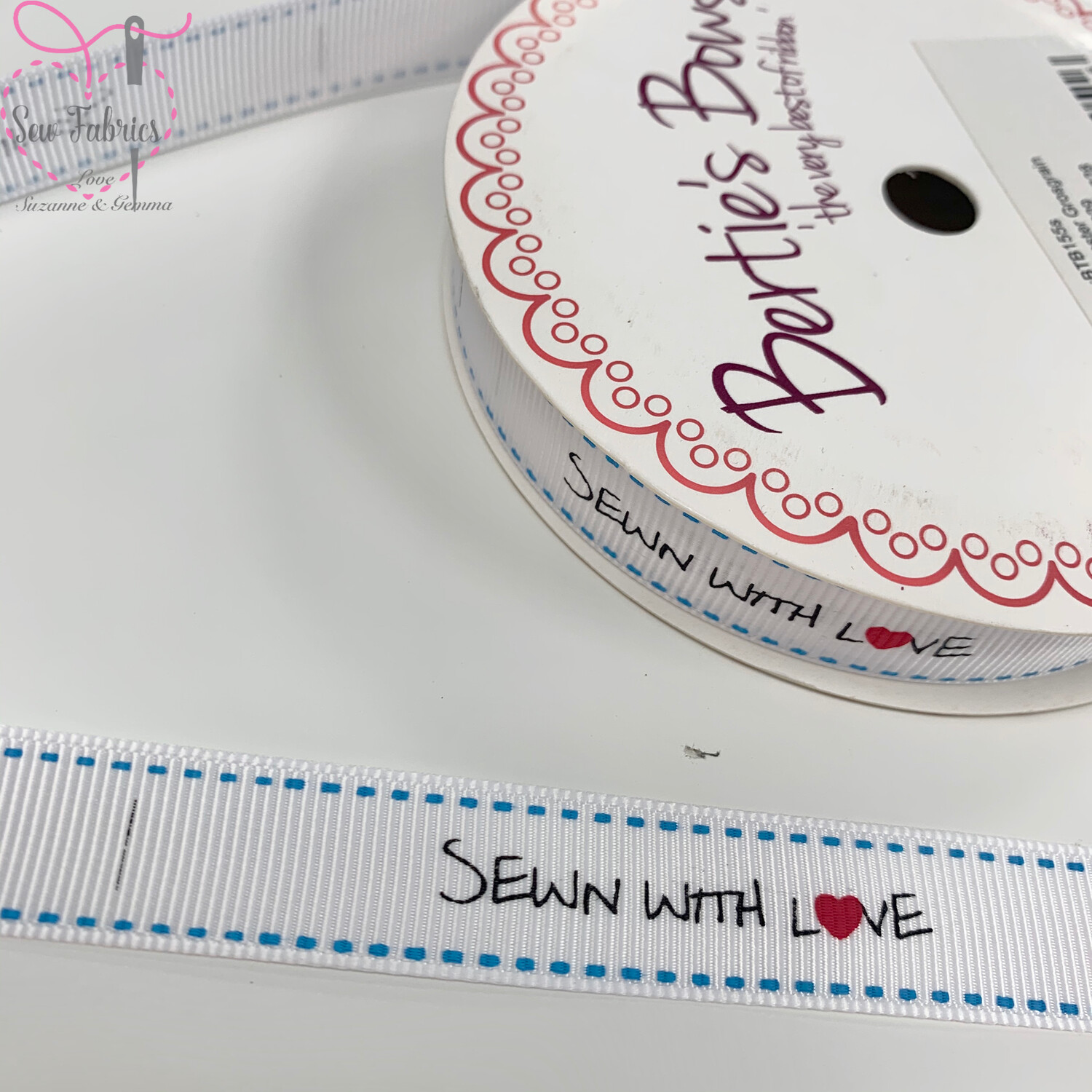 3 metre reel of 16mm White Grosgrain Ribbon with 'Sewn With Love' Print