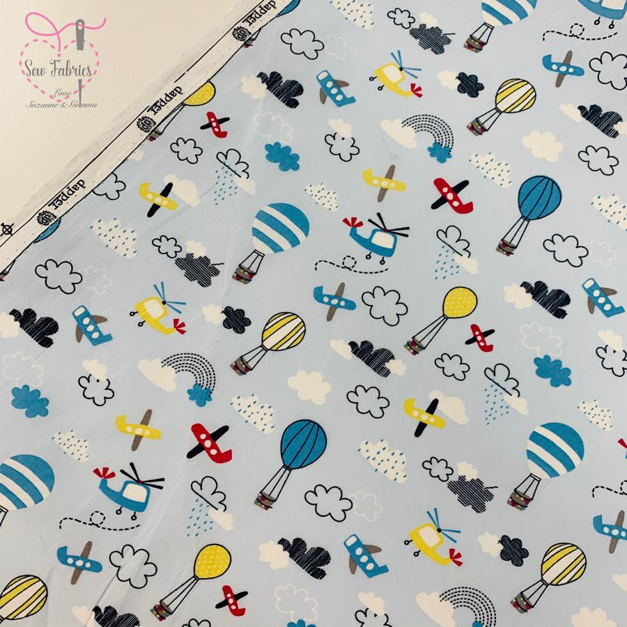 """Blue Planes and Hot Air Balloon Novelty Design, 100% Cotton Poplin Fabric, 59"""" Wide Width"""