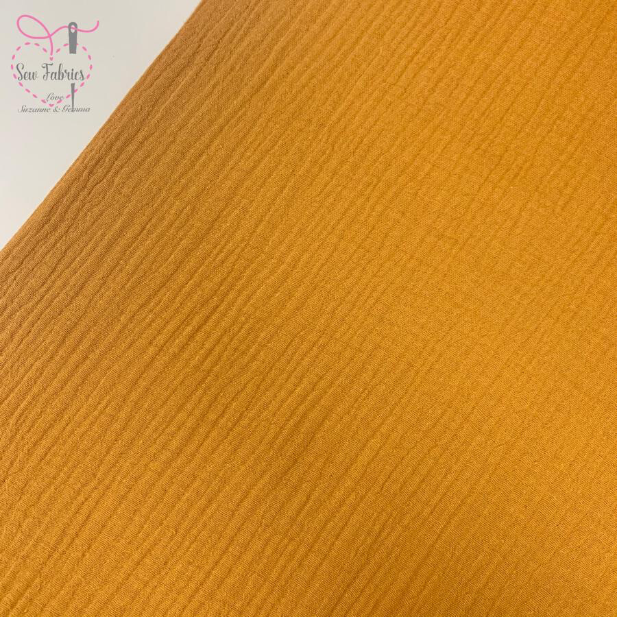Mustard Yellow Double Gauze Solid Fabric, 100% Cotton Material