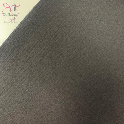 Dark Grey Double Gauze Solid Fabric, 100% Cotton Material