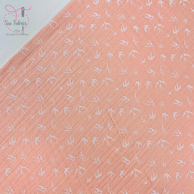 Peach Swallow Design Double Gauze Fabric, 100% Cotton Material