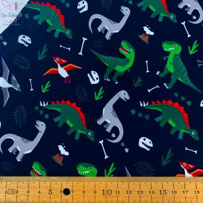 Navy Blue Dinosaur Print Cotton Jersey Fabric, Children's Unisex, Novelty Material