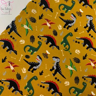 Mustard Yellow Dinosaur Print Cotton Jersey Fabric, Children's Unisex, Novelty Material