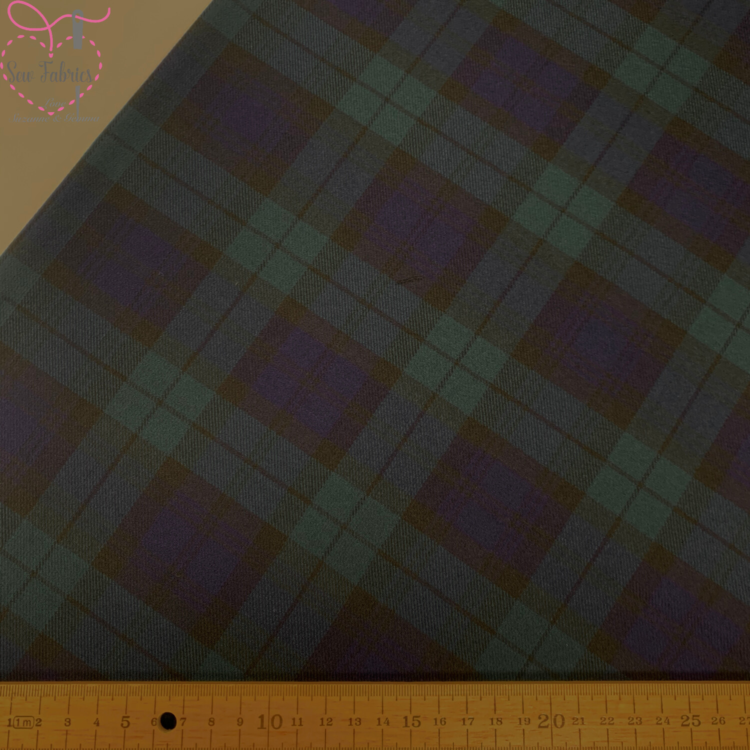 Argyle 2 Way Stretch Tartan Fabric, Blue Green Check Material