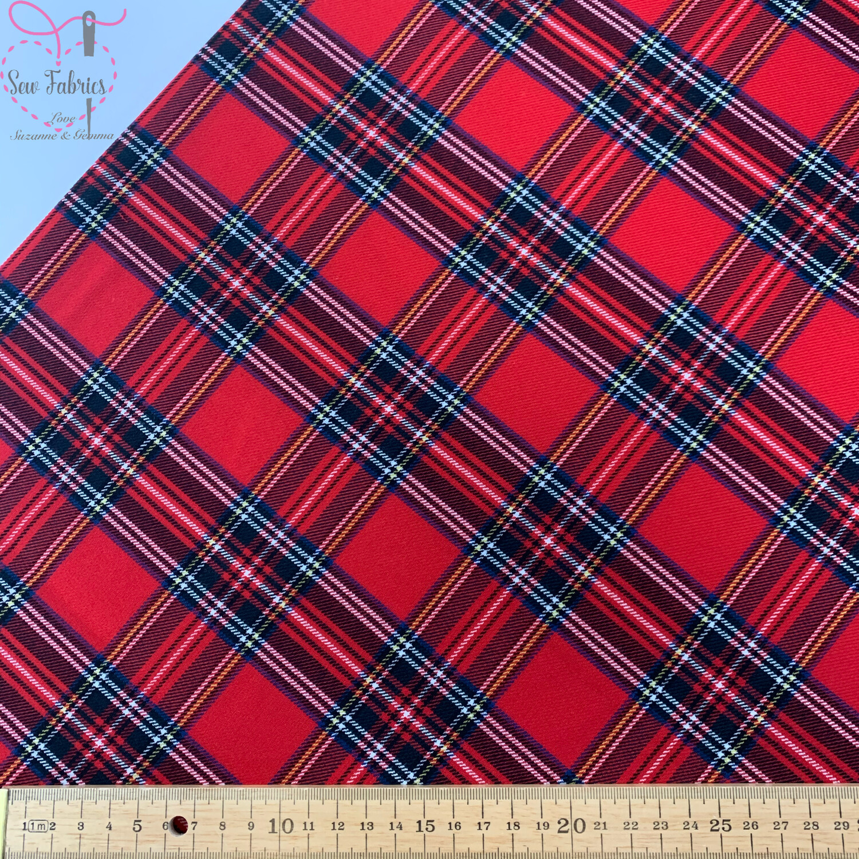 Royal Stewart 2 Way Stretch Tartan Fabric, Red Check Material