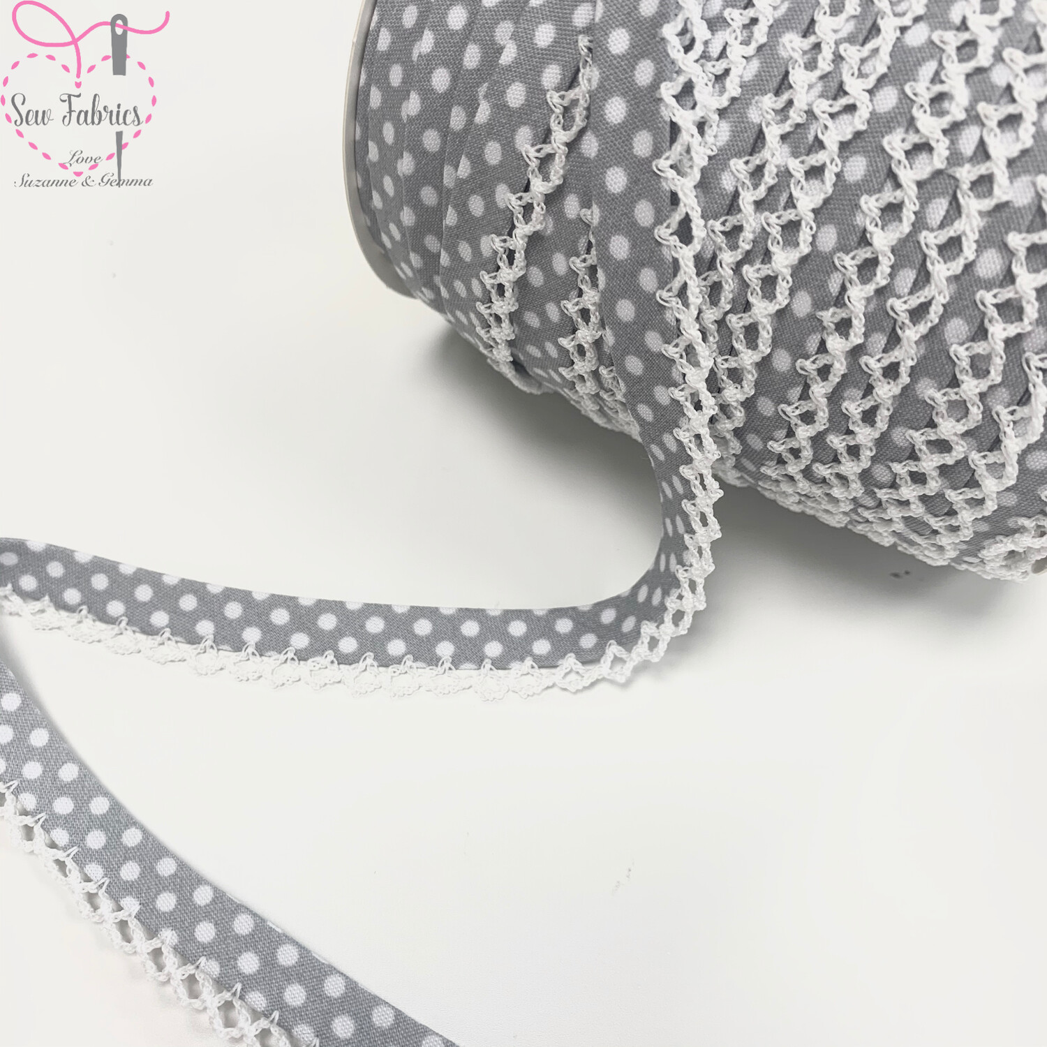 12mm Grey with White Polka Dots Pre-Folded Bias Binding with Lace Edge x 25mts Reel