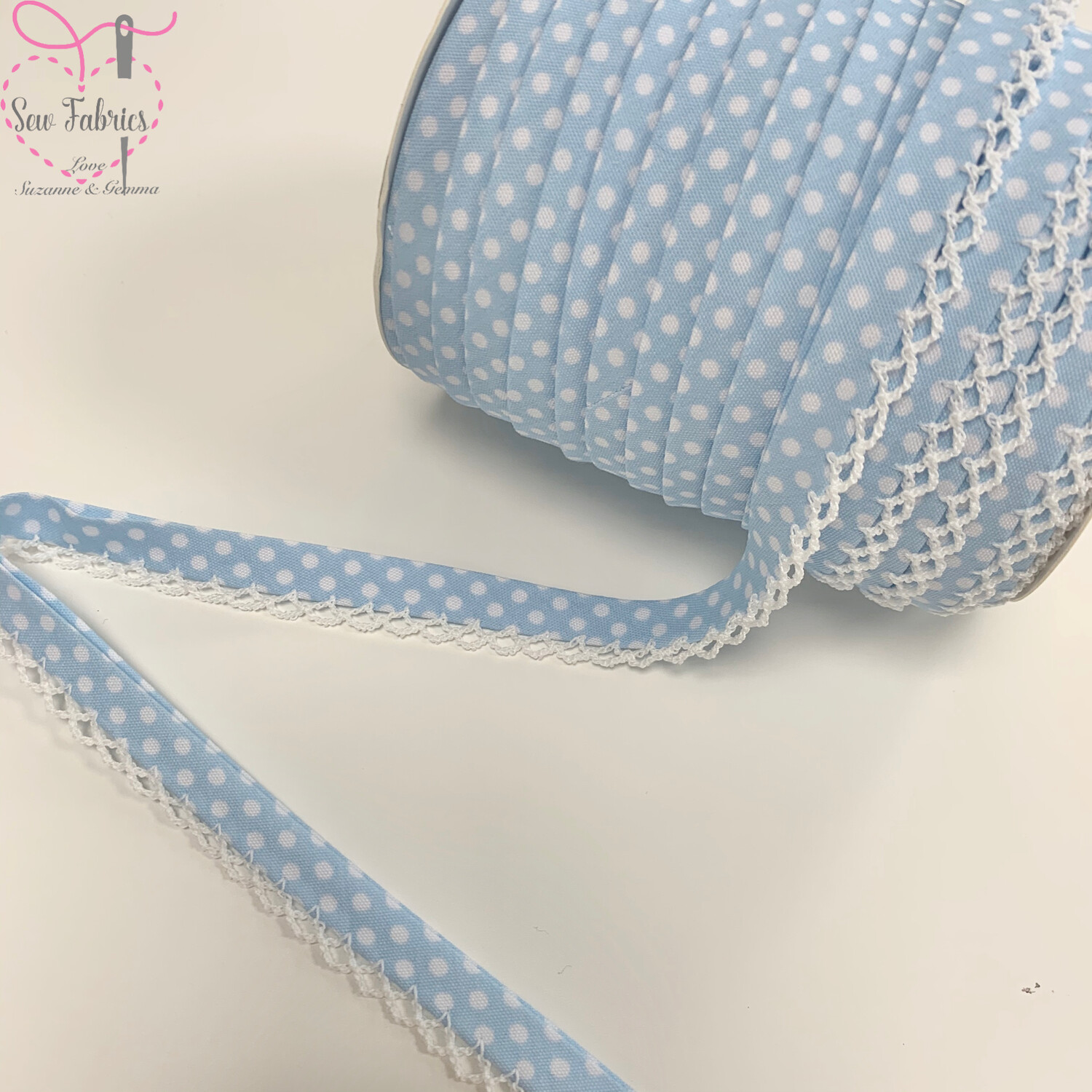 12mm Pale Blue with White Polka Dots Pre-Folded Bias Binding with Lace Edge x 25mts Reel