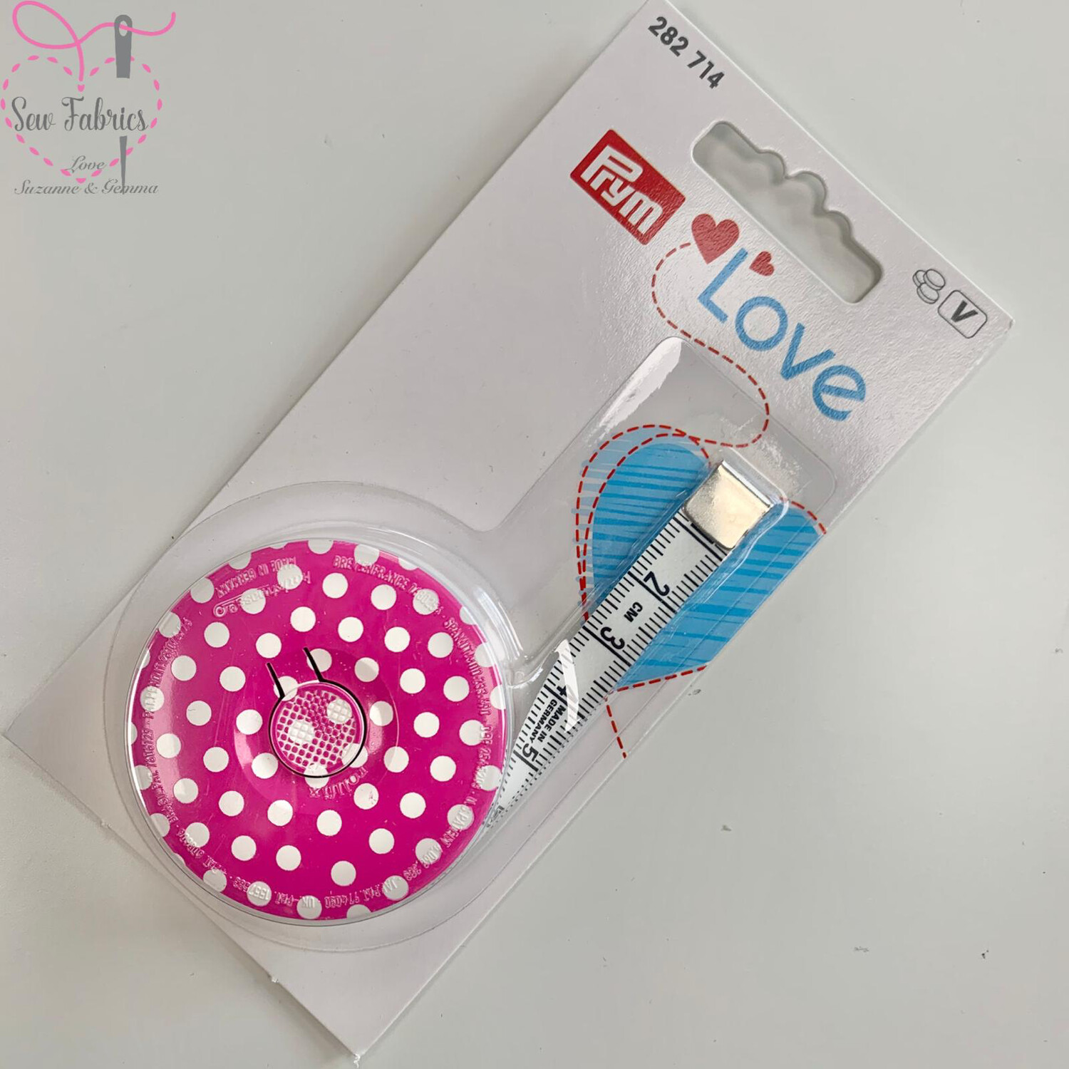 Prym Love Spring Tape Measure, Sewing, Dressmaking, Quilting Accessory, Pink Polka Dot