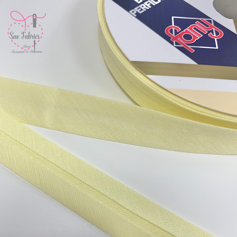 18mm Lemon Plain Bias Polycotton Bias Binding x 25mts Reel