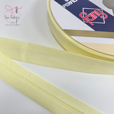 18mm Lemon Plain Bias Polycotton Bias Binding x 25mts Reel