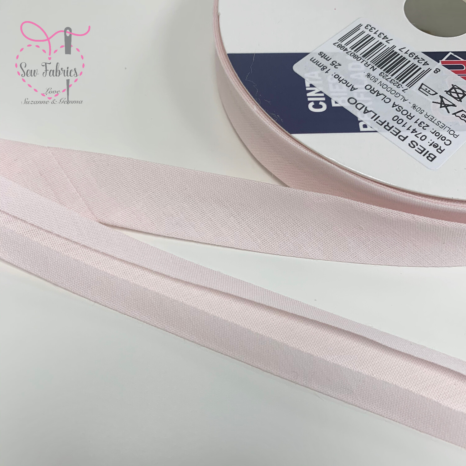 18mm Pink Azalea Plain Bias Polycotton Bias Binding x 25mts Reel