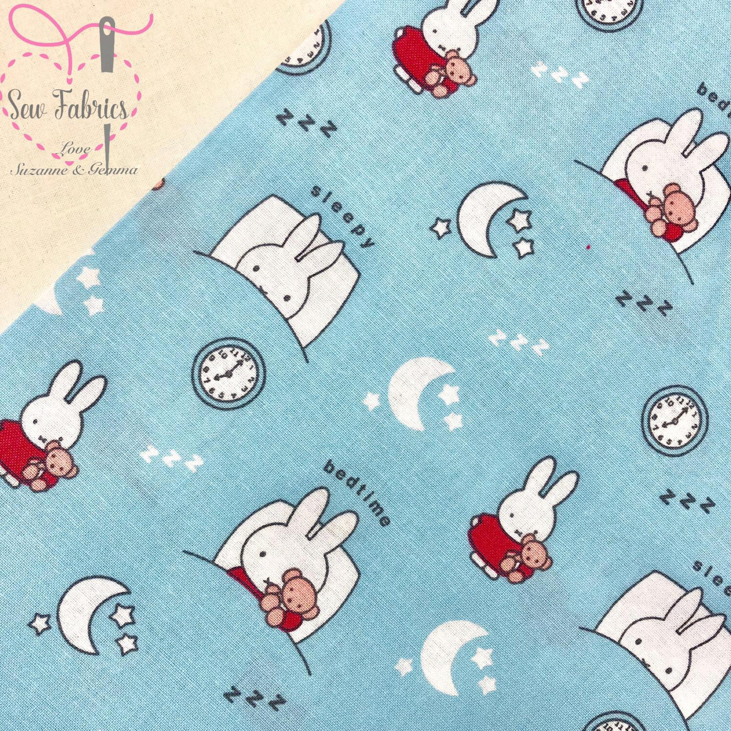 """Miffy With Blue Bunnies Fabric 100% Cotton, Licenced Fabric, 112cm/44"""" Width"""