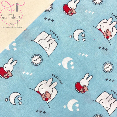 Miffy With Blue Bunnies Fabric 100% Cotton, Licenced Fabric, 112cm/44